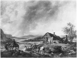 Landschap met vervallen boerenhoeve langs een beek met baders; op de voorgrond ruiters en rustende reizigers