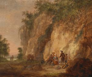 Berglandschap met rustende wandelaars