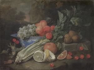 Stilleven met fruit  en bleekselderij