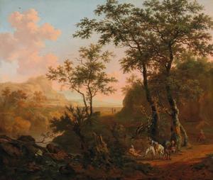 Zuidelijk landschap met reizigers op een landweg nabij een rivier