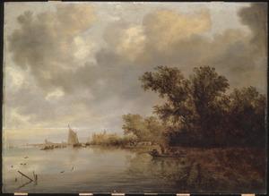 Rivierlandschap met eendenjager en veerpont; op de achtergrond gezicht op Arnhem en kasteel Rosendaal in een gefantaseerde omgeving