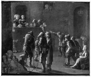 Binnenplaats met aalmoezen ontvangende bedelaars