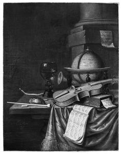 Een globe, een roemer, een viool, een muziekboek en rookgerei geschikt op een met een kleed bedekte tafel