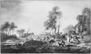 Heuvelachtig landschap met hertenjacht, rechts een ruïne