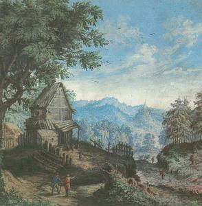 Berglandschap met wandelaars voor een vervallen huis