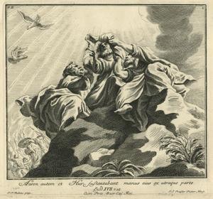 Mozes in gebed, ondersteund door Aäron en Ur tijdens de slag tgen de Amalekieten (Exodus 17: 9-13)