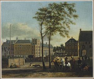 Gezicht vanaf de Plaats op het Binnenhof en de Gevangenpoort in Den Haag, geheel links het Groene Zoodje (executieplaats)