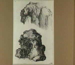 Twee studies van begroeide rotsen met groteske koppen
