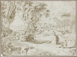 Arcadisch landschap met twee rustende figuren bij een standbeeld