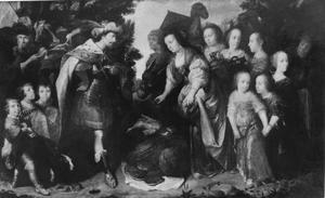 Portret van Heinrich de Groote met zijn vrouw Maria Sybilla als Salomo en Seba