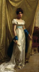 Jonge vrouw in avondtoilet