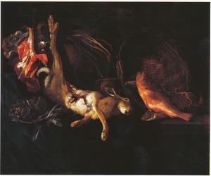 Stilleven met haas, vissen en artisjok
