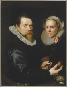 Portret van een echtpaar, de man met een tulp en een tulpenbol in de handen
