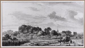Landschap met hooiwagen en twee boeren