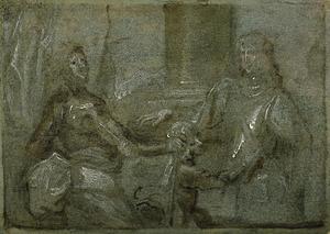 Dubbelportret Portret van Mountjoy Blount, 1ste Earl van Newport (?-1666) en (1608-1657), met een page