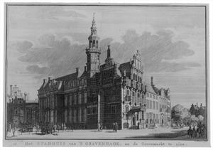 Den Haag, het raadhuis aan de Groenmarkt, gezien vanuit het zuiden; links, met trapgevel, het koffiehuis 'Hof van Holland'