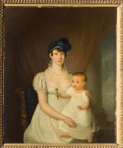 Portret van een vrouw met kind, mogelijk Sophia Dina des H.R. rijksgravin van Leyden (1778-1835) en Adriana Sophia barones van Rhemen (1806-1842)