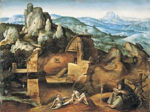 Een weids berglandschap met de Verzoeking van de H. Antonius