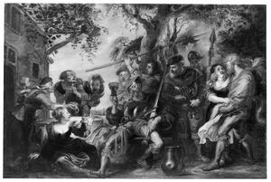 Dronken soldaten en vrouwen voor een herberg: Scène uit Cervantes Don Quichot