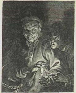 Oude vrouw en jongen met kaarsen