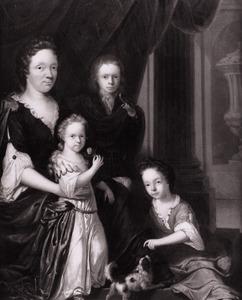 Portret van een vrouw en drie kinderen