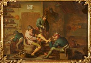 Interieur met boeren bij een dokter; allegorie op het Gevoel