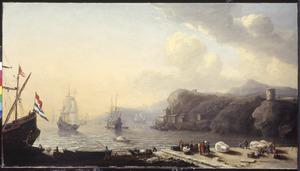 Zuidelijke haven met kooplui op de kade en op de achtergrond schepen op de rede