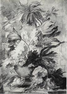 Bloemstilleven met keizerskroon in top in een vaas en een vogelnest op een stenen plint