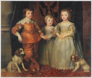 De drie oudste kinderen van Karel I Stuart (1600-1649) en Henriëtta Maria de Bourbon (1609-1669): Charles (1630-1685), Mary (1631-1666) en James (1633-1685), met twee spaniël