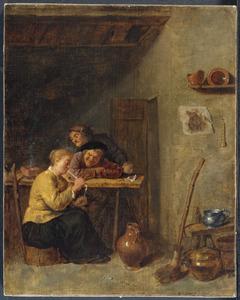 Boeren en een rokende vrouw in een herberg