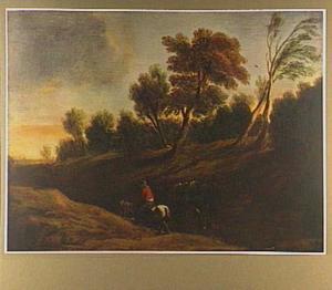 Landschap met man op een boerenkar in een holle weg
