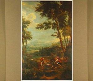 Zuidelijk landschap met de jacht op het Calydonische everzwijn