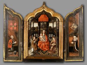 Drieluik met tronende Madonna met kind en de donorportretten van Jacop van Oldenbarnevelt (  -1443) en Margaretha Botter van Snellenberch