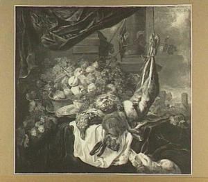 Stilleven van vruchten, gevogelte en haas; linksonder een hond en linksmidden en een doorkijk naar een kerk