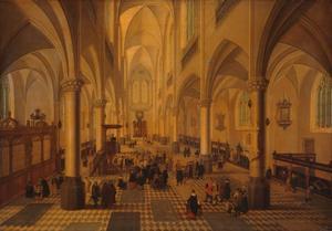 Interieur van een gotische kerk naar het westen