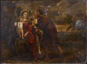De Heilige Familie met een engel met druiven
