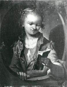 Portret van een meisje een brief lezend