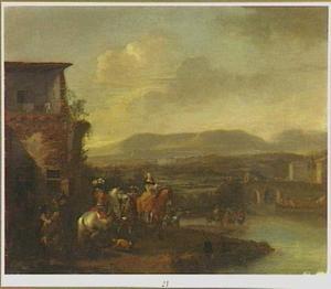 Landschap met reizigers voor een herberg bij een rivier
