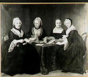 Groepsportret van Marianne Nepveu (1714-1773) , Magdalena van Eys (1712-1774) , Olympe Marie Chion (1712-1802) en Maria Philippina Schrijver (1732-1798)