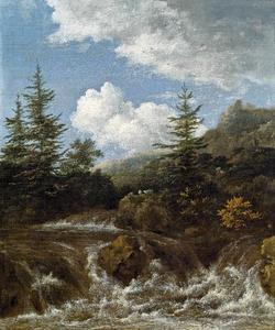 Landschap met waterval en pijnbomen