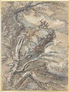 Rotsladschap met soldaten; in de achtergrond een veldslag