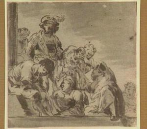 Figuren bij een zuil (ongeïdentificeerde voorstelling)