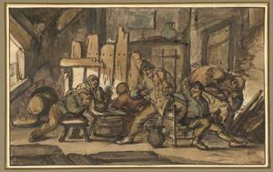 Vioolspeler en vrolijke boeren in een herberg