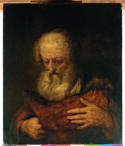 Oude man met een kip; allegorie op het Gevoel