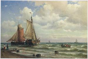 Hollandse vissersschepen in de branding