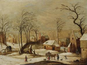 Gezicht op een dorp in de winter