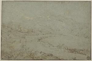 Riviervallei in een bergachtig landschap