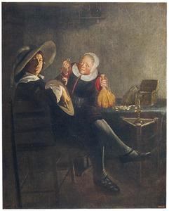 Luitspelende man en oude vrouw met muntgeld in een interieur
