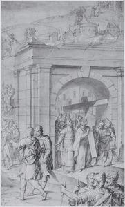 Keizer Heraclius draagt het ware kruis naar de berg Golgotha