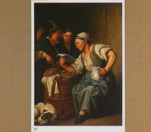 Brieflezende oude vrouw met wijzende oude man en jongen die een spottend gebaar maakt